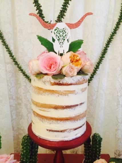 Desert & Rose Inspired Celebration dessert table with stunning naked cake with topper