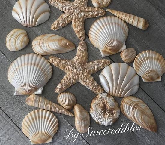 Edible Mermaid Seashells Cupcake Toppers Fondant Decorations