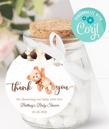 Editable Teddy Bear Baby Shower Favors