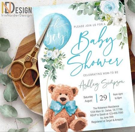 Editable Teddy Bear Baby Shower Invitation green
