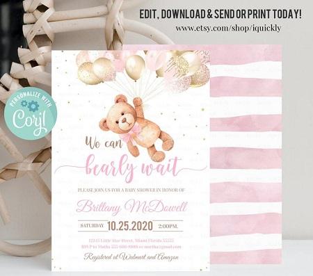 Editable Teddy Bear Baby Shower Invitation pink