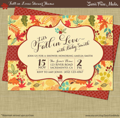 Fall Baby Shower Invitation, Autumn Shower Party Printables