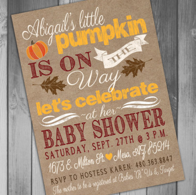 Fall Baby Shower Little Pumpkin Baby Shower Invitation Rustic Baby Shower