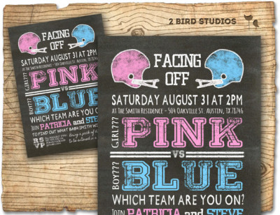 Football gender reveal invitation- football baby shower invite - coed gender reveal baby showe