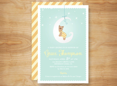 Gender Neutral Printed Teddy Bear Baby Shower Invitation, Teddy Bear Shower
