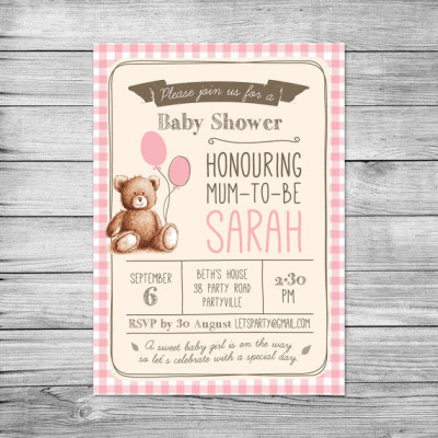 Gingham Teddy Bears Picnic baby shower invitations