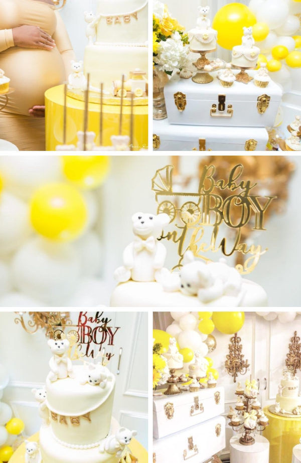 glam-yellow-and-white-teddy-bear-baby-shower-600x923