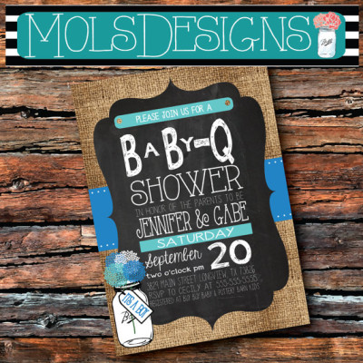 IT'S A BOY Mason Jar Floral Baby Q Sprinkle Couples Bbq Chalkboard Burlap Light Baby Blue Boy Baby Shower Sip n See Party Cookout Invitation