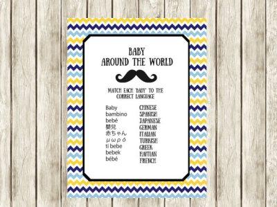 Little man Baby Around the World Baby Shower