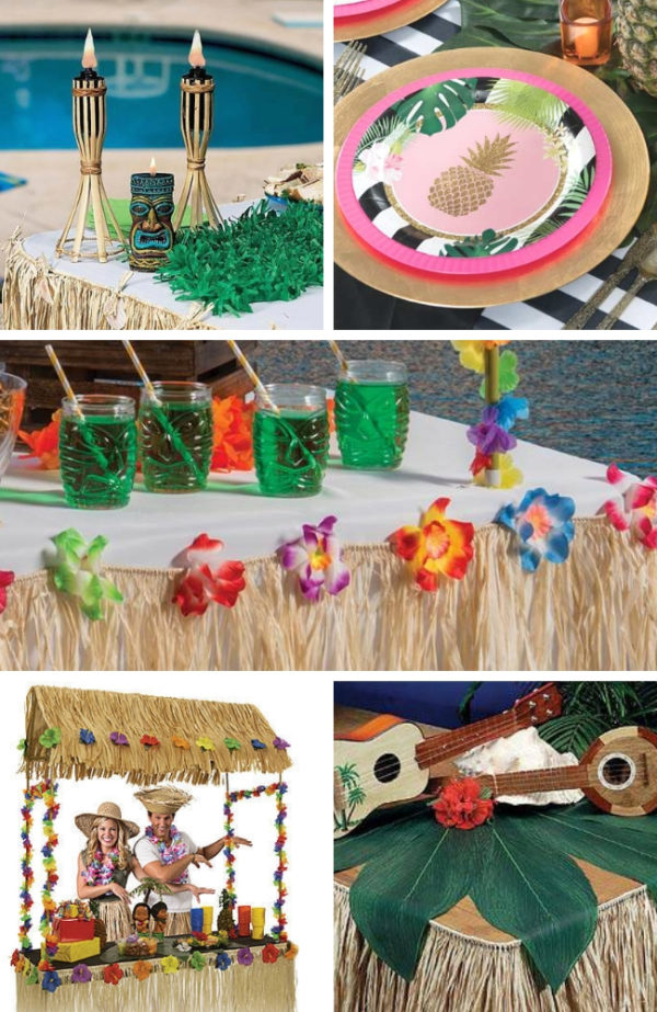 luau-baby-shower-supplies-raffia-seashell-table-skirts-tiki-hut-tropical-leaves