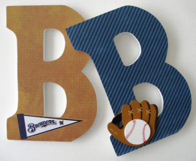 MLB Baseball - Sports Bedroom - Hanging Wooden Wall Decorations - Baby Shower Gift