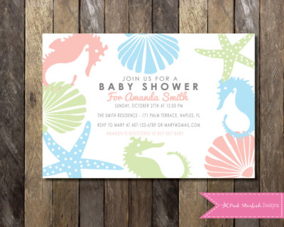 PRINTABLE Under the Sea Baby Shower Invitation - Blue Pink Green - Custom Order Baby Shower