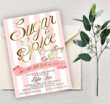 Pink and Gold Sugar and Spice Baby Shower Invitation