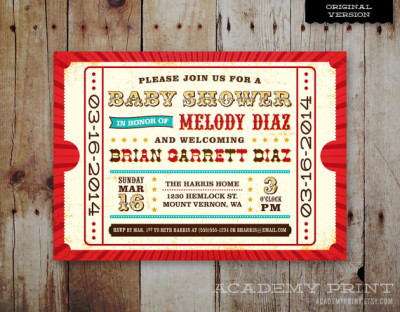 Printable Baby Shower Invitation - Circus , carnival Theme