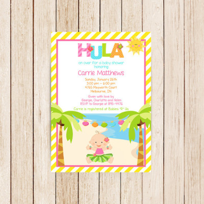 Printable Digital JPEG file 300 DPI Cute Hula Luau Girl Baby Shower Invitation Birthday Party