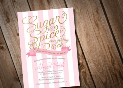 Printable Sugar and Spice Baby Shower Invitation