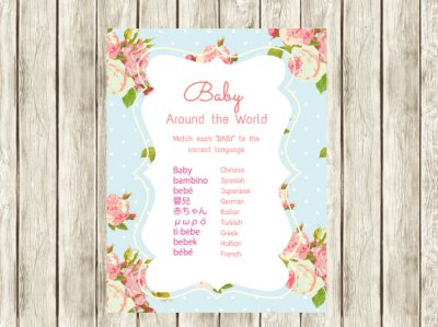 Shabby Floral Baby Around the World Baby Shower Games