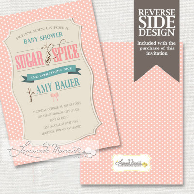Sugar and Spice Baby Shower InvitationPrintable Sugar and Spice and Everything
