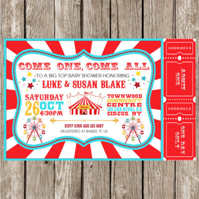 Vintage Circus Carnival Invitation - Baby Shower