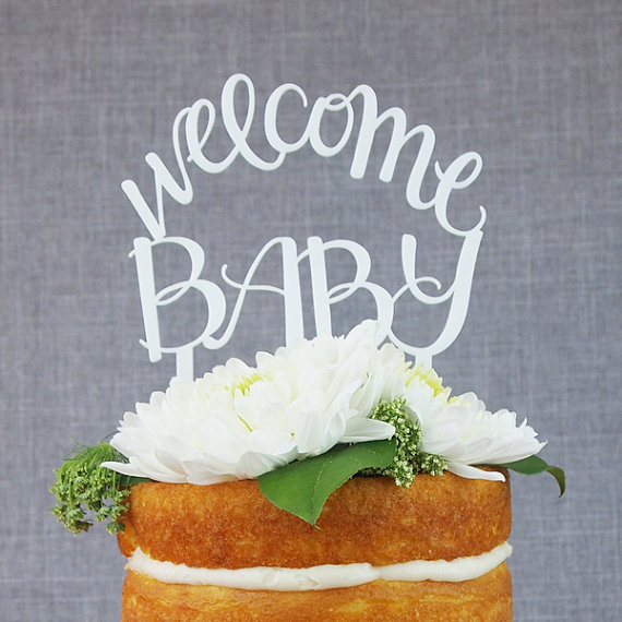 Welcome Baby White Acrylic Cake Topper