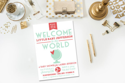 Welcome to the World DIY Printable Baby Shower Invitation