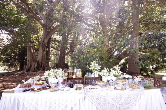 Whimsical Lace and Flower Shower picnic style