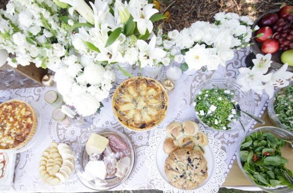 Whimsical Lace and Flower Shower picnic style buffet foods, Pea, Feta & Basil salad. Spinach, Snowpea & Semi dried tomato salad. Rocket, Cannellini bean & Artichoke salad. Pizza Damper. Pumpkin, Feta & Sage pullapart