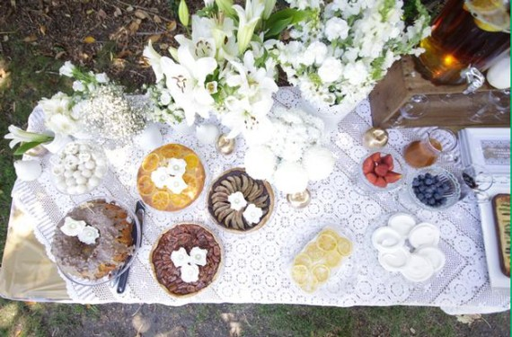 Whimsical Lace and Flower Shower picnic style buffet foods view from top
