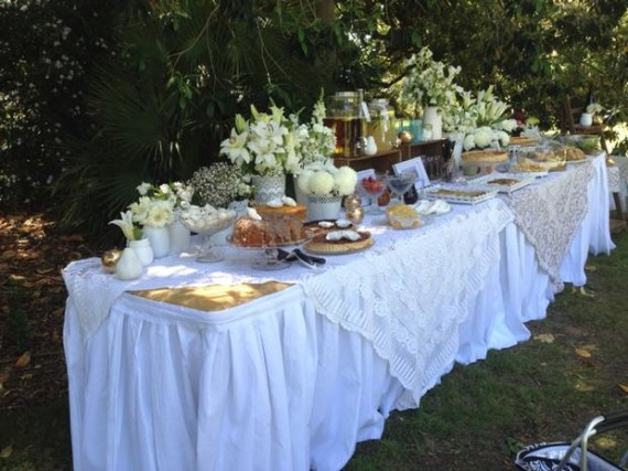 Whimsical Lace and Flower Shower picnic style tablescape