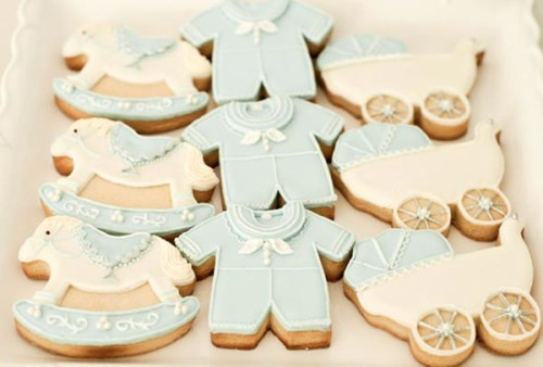 pastel blue and white baby item cookies