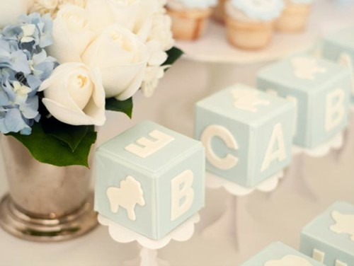 blue and white ABC baby blocks