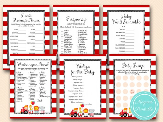 circus carnival baby shower games package tlc145 instant download