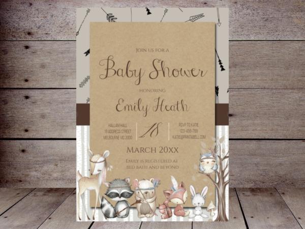 editable-boho-woodland-baby-shower-invitations