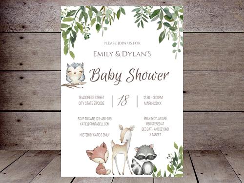 editable greenery woodland animal invitation