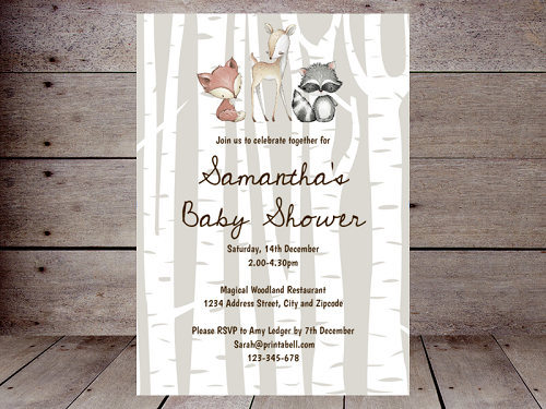 editable woodland birch baby shower invitation