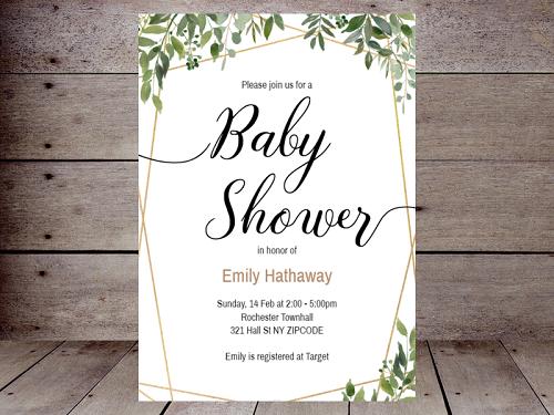 greenery woodland baby shower invitation