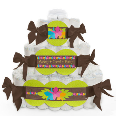 luau-themed-baby-shower-diaper-cake