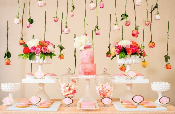 mothers-day-watercolor-roses-dessert-table