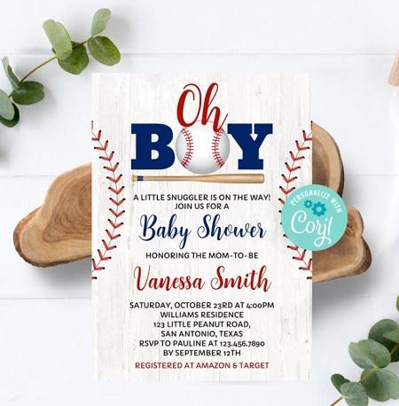 oh boy baseball baby shower invite