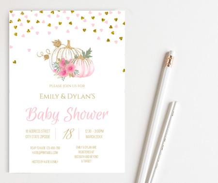 pink pumpkin baby shower invitation