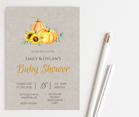 rustic sunflower pumpkin baby shower invite