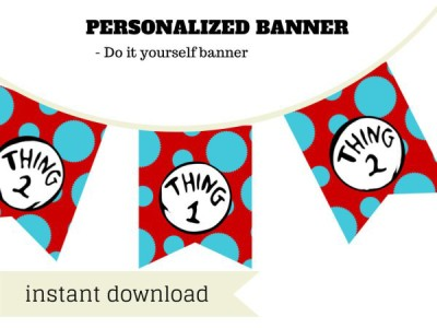 Dr Seuss Twin baby shower theme thing-1-thing-2-banner-dr-seuss
