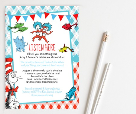 editable Thing 1 Thing 2 Baby Shower Invitations