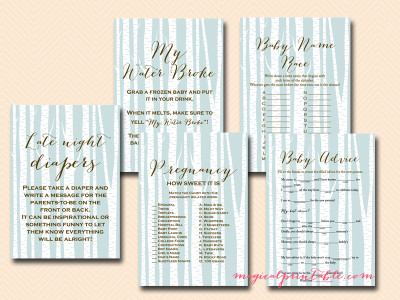 woodland baby shower game package, tree birch rustic baby shower games