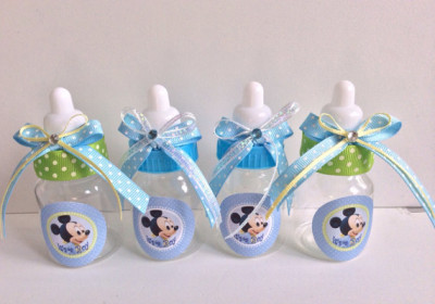 Baby Mickey Mouse baby shower favors - Mickey Mouse baby bottles- Mickey Mouse baby shower