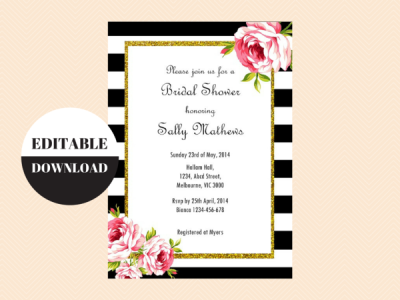 Black and White Floral Editable Invitation