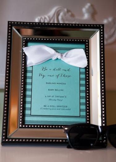 Breakfast at Tiffany's Baby Shower be a doll drink menu