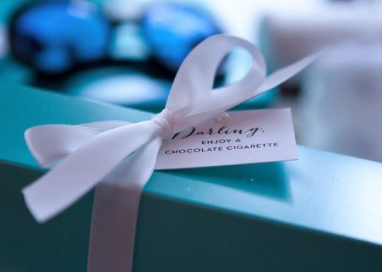 Breakfast at Tiffany's Baby Shower enjoy a chocolate cigarette