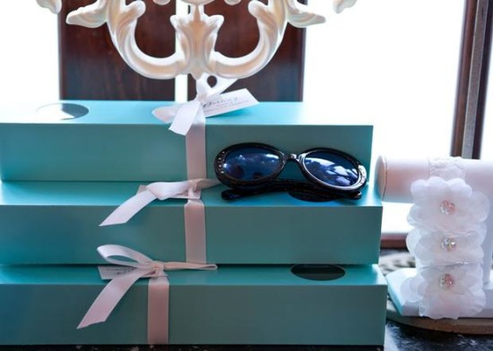 Breakfast at Tiffany's Baby Shower favor boxes and shades