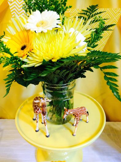 Bright Yellow Giraffe Baby Shower decorations